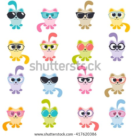 set of colorful cats with sunglasses - stock vector