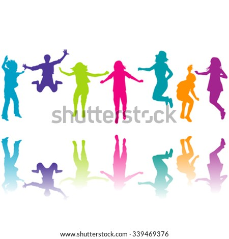 Set of colorful children silhouettes jumping on white background - stock vector