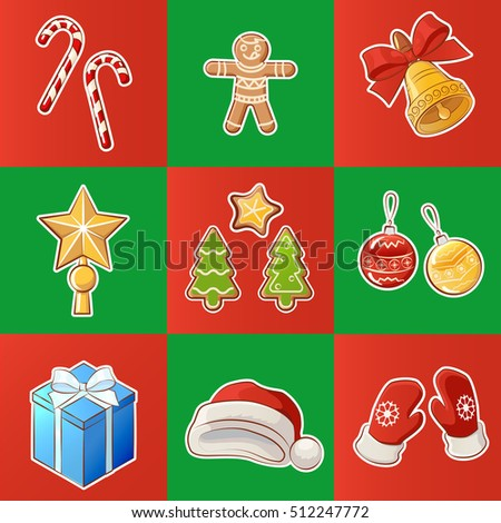 Set of colorful Christmas and New Year decorations elements.