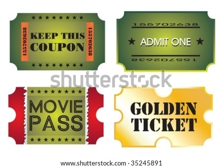 Set of colorful cinema tickets, vector illustration