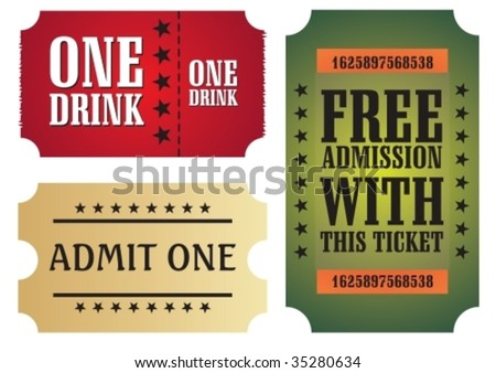 Set of colorful cinema tickets, vector illustration - stock vector