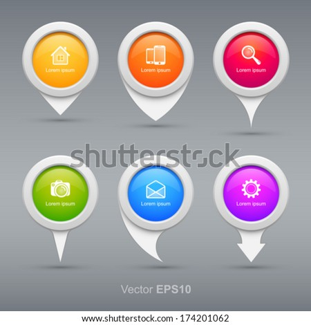 Set of colorful circle pointers. - stock vector