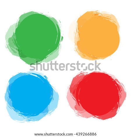 Set of colorful circular, round abstract banners. Template for design and paste text. Graphic banners design. Universal application. Bright, funny labels, cards, stickers. Vector illustration
