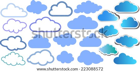Set of colorful clouds with different contours and paper clouds with shadow - stock vector