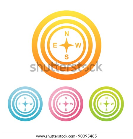 set of 4 colorful compass signs - stock vector