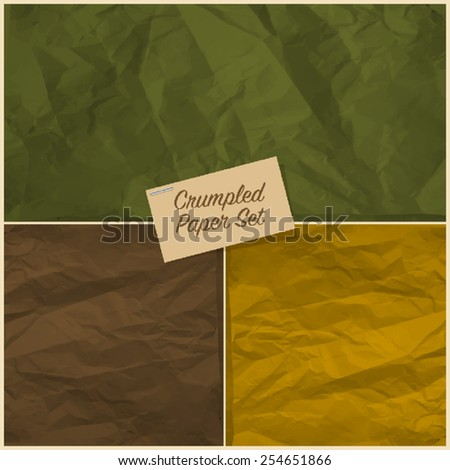 Set of colorful crumpled paper texture - stock vector