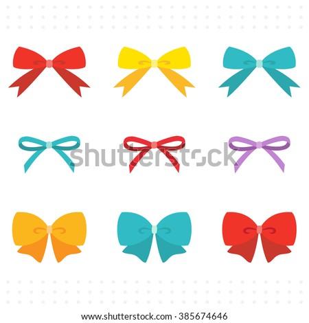 Set of Colorful Cute Ribbon  - stock vector