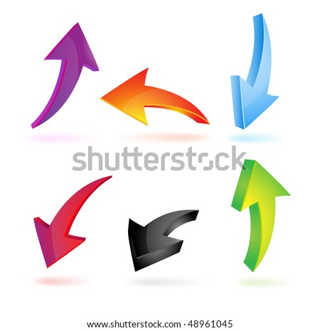 Set of colorful 3d arrows - stock vector