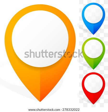 Set of colorful 3D map marker, map pin icons. Vector - stock vector