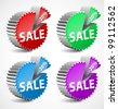 Set of colorful 3d sale labels. Vector illustration - stock vector