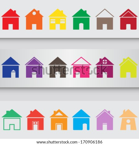 set of colorful different house icons (silhouettes) on grey background