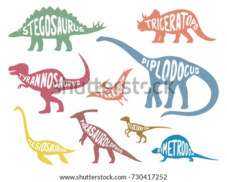 Set of colorful dinosaurs with lettering. Vector illustration.