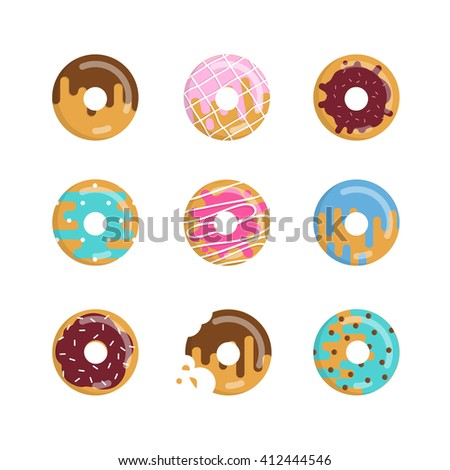 Set of colorful donuts. Vector illustration of sweet donuts on white background.  - stock vector
