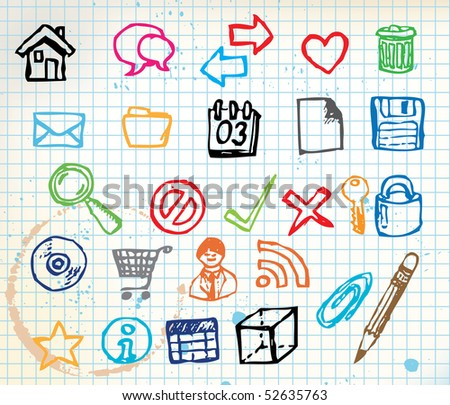 Set of colorful doodle computer icons for your webdesign on squared paper - stock vector