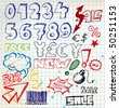 Set of colorful doodle eshop / advert elements on squared paper - stock vector