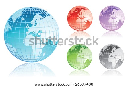 Set of colorful earth globes - stock vector