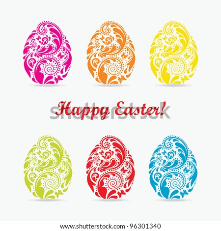 Set of colorful Easter egg, made of leaf pattern. - stock vector