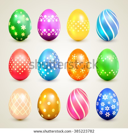 Set of colorful Easter eggs with decorative patterns, illustration.