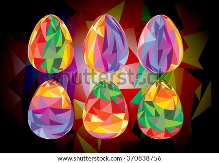 Set of colorful Easter eggs with polygonal ornaments - stock vector