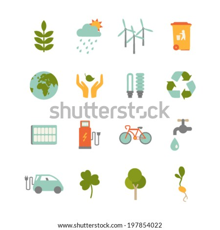 set of colorful ecology icons - stock vector