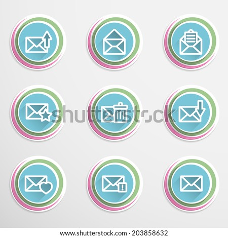 Set of colorful envelope buttons. Vector - stock vector