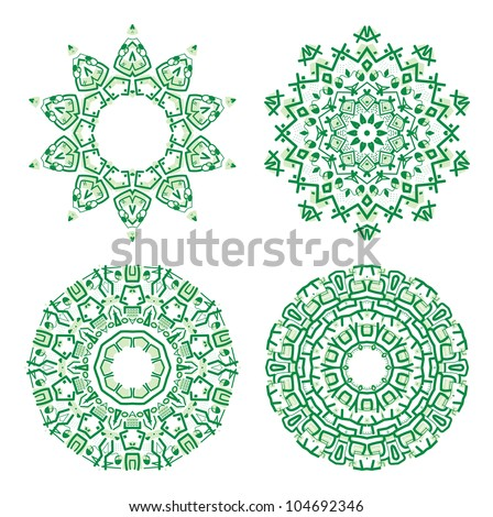 Set of colorful ethnicity round ornament, green mosaic vector illustration - stock vector