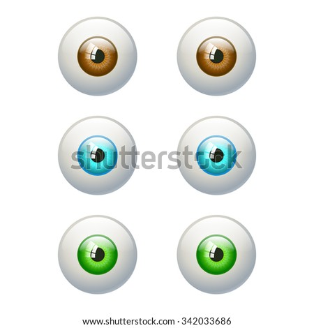 Set of colorful eyes. Brown, blue, green eye. Vector illustration isolated on white