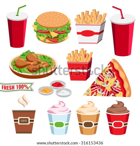 Set of colorful fast food icons. Flat cartoon style burger, ice cream, french fies, soda, chicken, pizza isolated on white background, vector.