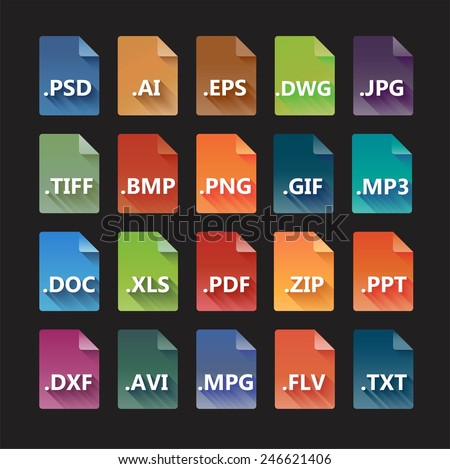 Set of colorful file formats with long shadow. - stock vector