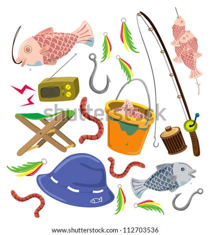 set of colorful fishing stuff - stock vector