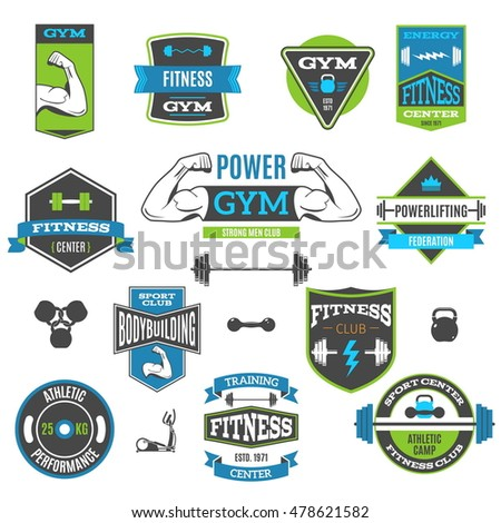 Set Of Colorful Fitness And Sport Vector Labels And logos. Modern Flat Design Vector Illustration