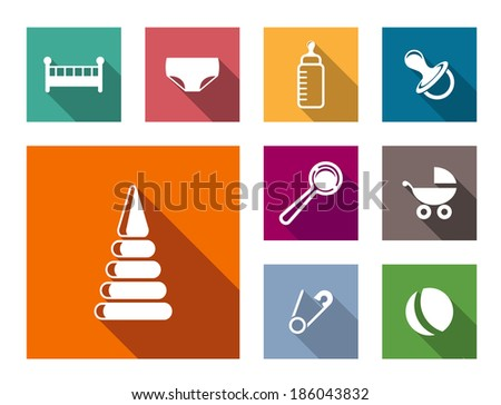 Set of colorful flat baby icons logo with a cot, nappy, pacifier, dummy, rattle, pram ball, bottle and safety pin - stock vector