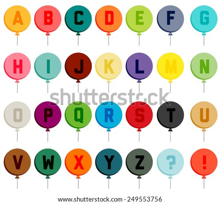 Set of colorful flat balloons with all the letters of alphabet - stock vector