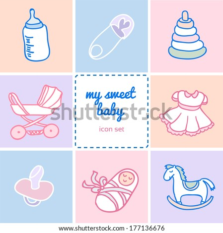 Set of colorful flat icons about baby goods, Sketchy illustration hand drawn, vector object isolated, realistic image - stock vector