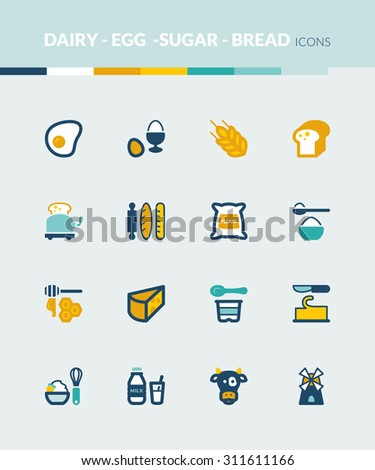 Set of colorful flat icons about dairy egg bread and sugar - stock vector