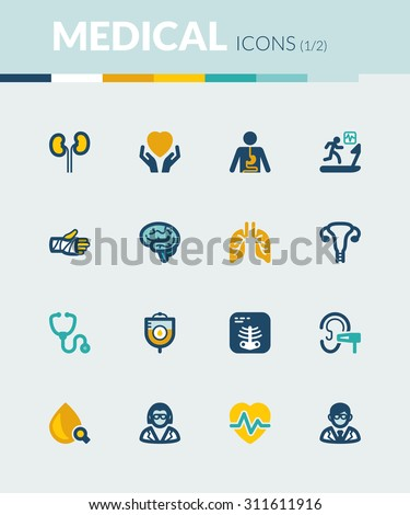 Set of colorful flat icons about health. Medical specialties - stock vector