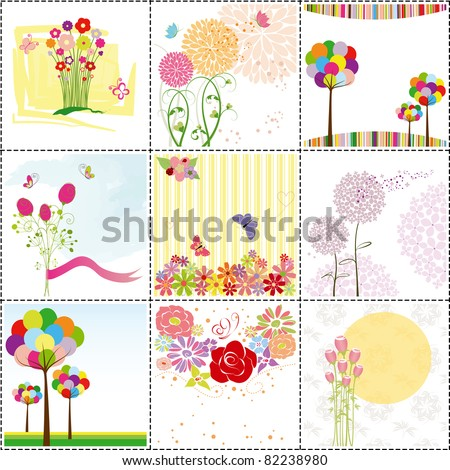 set of colorful flowers,butterfly,ladybird  greeting card - stock vector