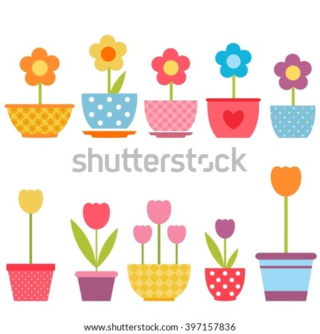 Set of colorful flowers in pots - stock vector