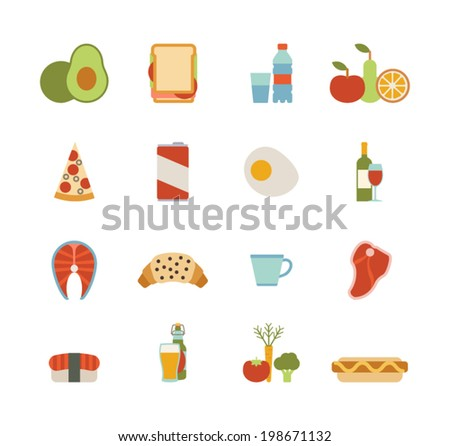 set of colorful food icons - stock vector