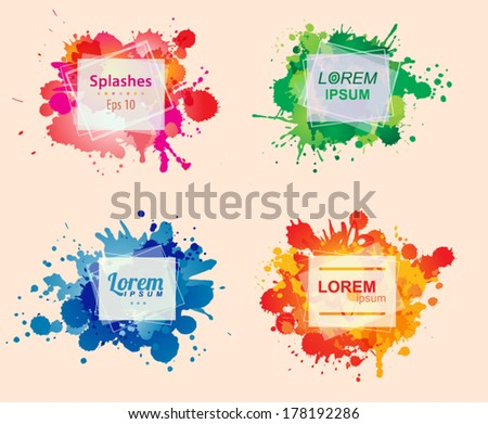 Set of colorful frames with ink splashes. Vector template  - stock vector