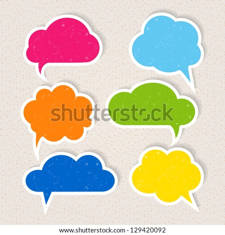 Set of colorful frayed speech bubbles - stock vector
