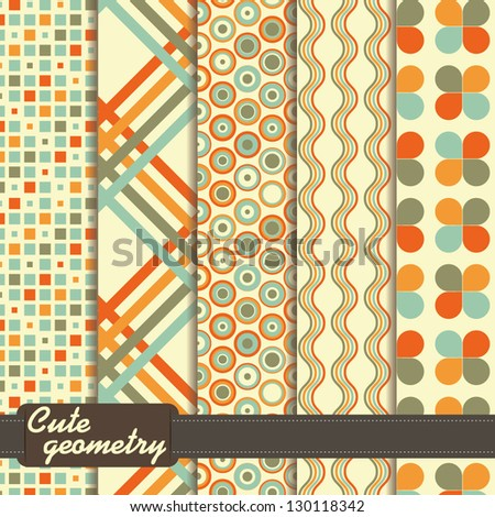 set of colorful geometrical pattern - stock vector
