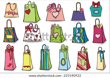 Set of colorful gift bags with drop shadow. Hand drawing style.Doodle Vector illustration.  - stock vector