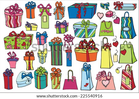 Set of colorful gift boxes and gift bags with bows ,ribbons,tags. Hand drawing style.Doodle Vector illustration.  - stock vector
