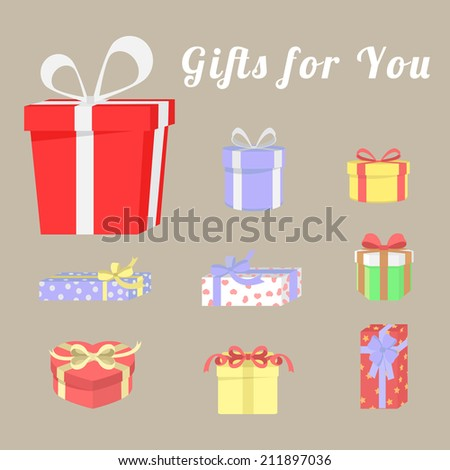 Set of colorful gift boxes and ribbons. Vector illustration. - stock vector