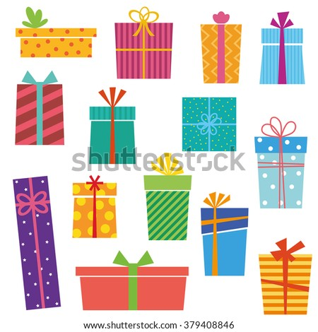 Set of colorful gift boxes on white background. Vector version. - stock vector