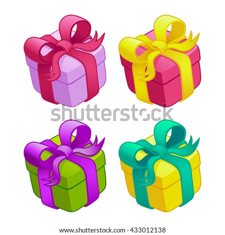 Set colorful gift boxes bows ribbons stock vector 2018 433012138 set of colorful gift boxes with bows and ribbons vector illustrationfunny cartoon colorful negle Choice Image