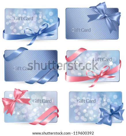 Set of colorful Gift cards with gift bows with ribbons Vector - stock vector