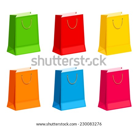 Set of colorful gift or shopping bags. Vector illustration. - stock vector