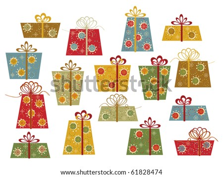 Set of colorful gifts - stock vector